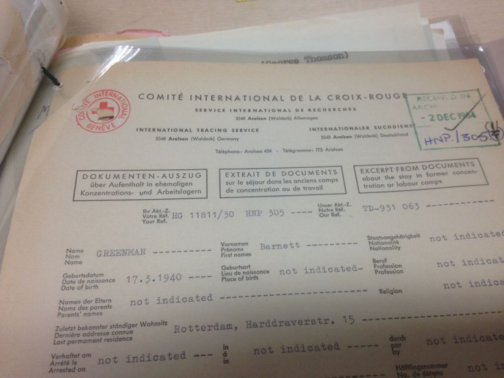 Typical form for International Tracing Service of Red Cross which was used as evidence in the applications for compensation (Jenni Frazer/The Times of Israel)