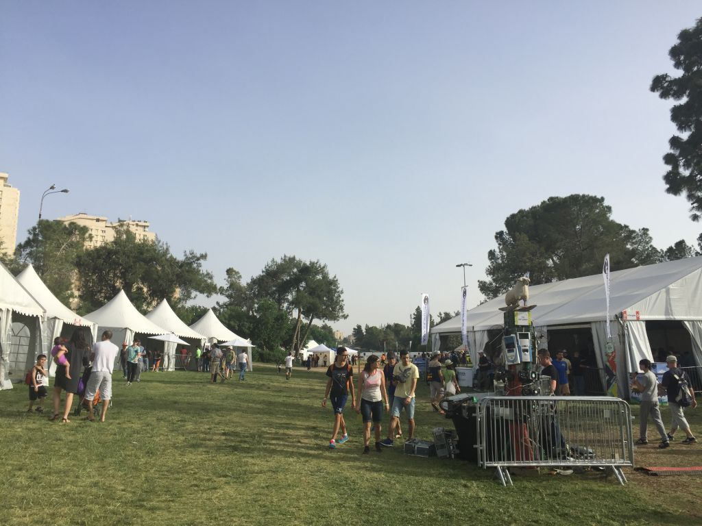 The grounds of Jerusalem's Sacher Park covered with tents for the Geek PicNic, held on April 25-27, 2016 (Jessica Steinberg/Times of Israel)