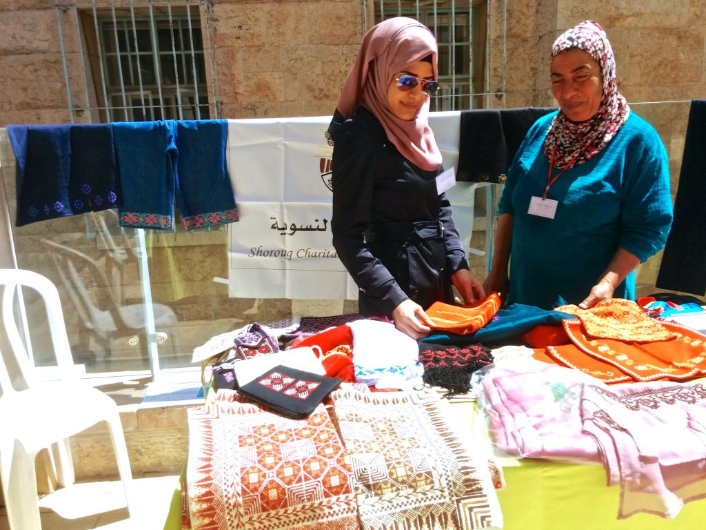 Picture of Suzan Qassas (Left), who was representing the Palestinian NGO Shorouq Women's Centre on April 7th at ALLMEP Conference in Jerusalem (Dov Lieber/Times of Israel)