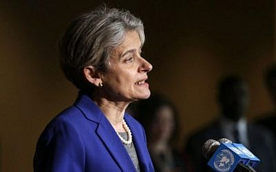 Irina Bokova speaks with reporters in New York on April 12, 2016. (Kena Betancur/AFP)