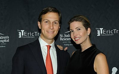 Jared Kushner and his wife Ivanka Trump at the Trump National Golf Club in Bedminster, NY, Sept. 21, 2015. (Bobby Bank/WireImage/Getty Images via JTA)
