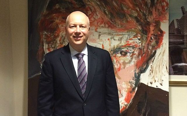 Jason Greenblatt, Donald Trump's top real estate lawyer and an Orthodox Jew, in a conference room at Trump world headquarters in Manhattan. (Uriel Heilman/JTA)