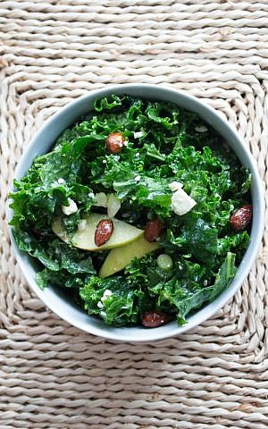 Kale Salad with Candied Almonds (Megan Wolf/via JTA)