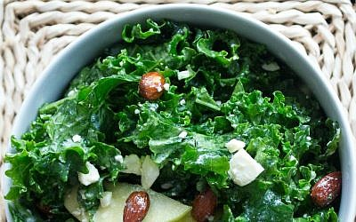 Kale Salad with Candied Almonds  (Megan Wolf/via JTA)