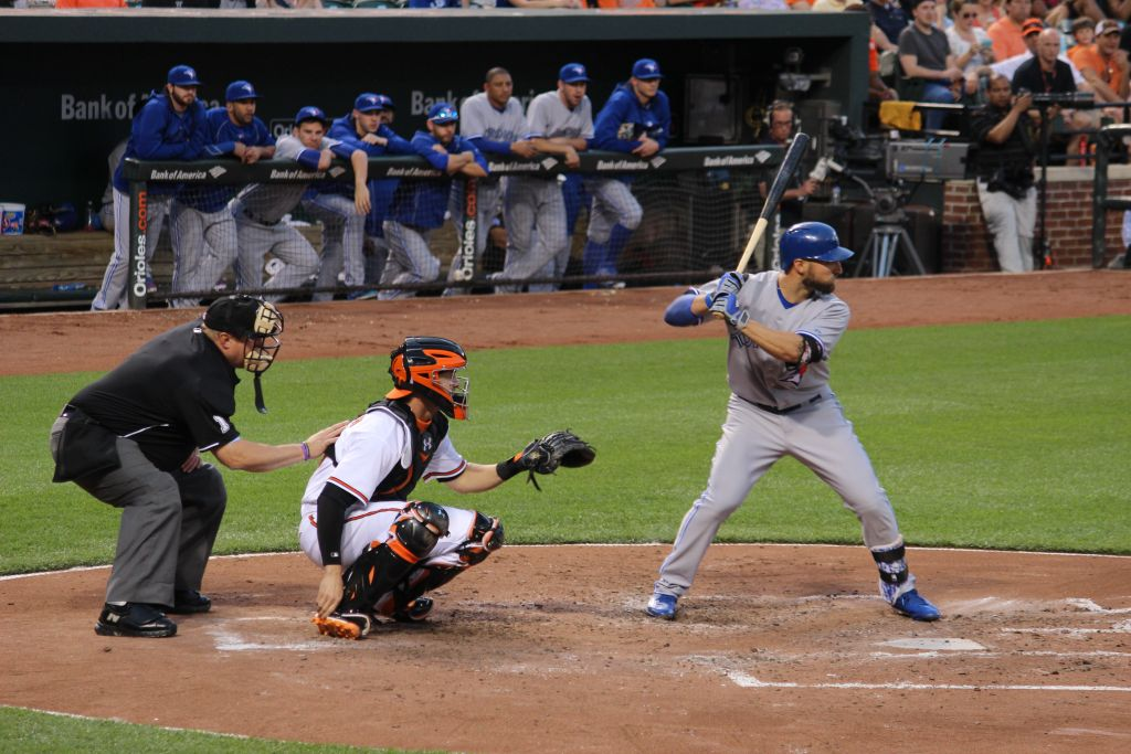 Kevin Pillar hitting against the Baltimore Orioles, May 12, 2015. At least one observer sees the Toronto Blue Jays' outfielder as the best Jewish player in baseball. (Hillel Kuttler/JTA)