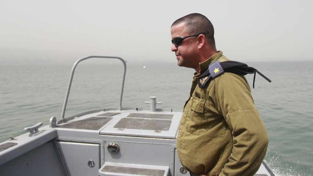 Maj. Matan Bar leads the diving team searching for missing pilot Lt. Yakir Naveh, whose plane crashed in the Sea of Galilee in 1962, on April 6, 2016. (Judah Ari Gross/Times of Israel)