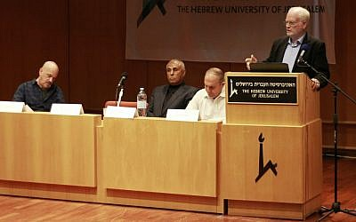 Amos Gilad, director of the Defense Ministry's Political-Military Affairs Bureau, addresses a conference on Gaza's economy at Hebrew University in Jerusalem on April 13, 2016. (Judah Ari Gross/Times of Israel)