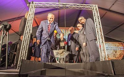 Prime Minister Benjamin Netanyahu helps lay the National Library's new cornerstone, while National Library Chairman David Bloomberg, Speaker of the Knesset Yuli Edelstein, and Menachem Ben-Sasson, President, The Hebrew University of Jerusalem, look on (Courtesy Albatross)