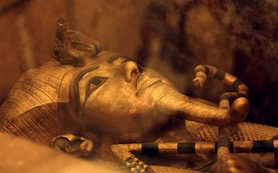 Illustrative photo of Egypt's famed King Tutankhamun's golden sarcophagus as displayed at his tomb in a glass case at the Valley of the Kings in Luxor, Egypt, April 1, 2016. (AP Photo/Amr Nabil)