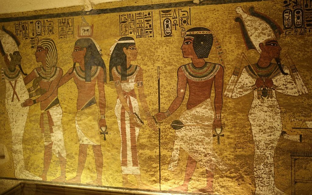 The north wall of King Tutankhamun's burial chamber at his tomb at the Valley of the Kings in Luxor, Egypt, Friday, April 1, 2016. Egypt's archaeologists have completed more extensive scanning of two recently discovered chambers behind King Tut's tomb in the Valley of the Kings. (AP Photo/Amr Nabil)