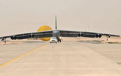 Illustrative: A US Air Force B-52 Stratofortress aircraft from Barksdale Air Force Base, Louisiana, arrives at Al Udeid Air Base, Qatar, Saturday, April 9, 2016. (Staff Sgt. Corey Hook/US Air Force via AP)