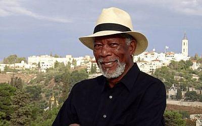 Morgan Freeman in Jerusalem (Facebook)