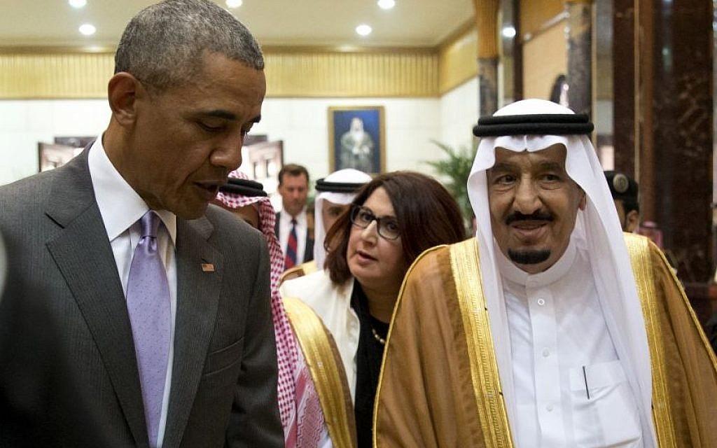 US President Barack Obama and Saudi Arabia's King Salman walk together to a meeting at Erga Palace in Riyadh, Saudi Arabia, Wednesday, April 20, 2016.  (AP Photo/Carolyn Kaster)