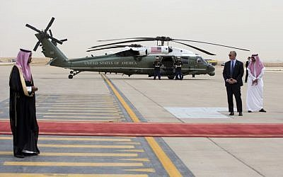Marine One is staged on the tarmac as President Barack Obama arrives on Air Force One at King Khalid International Airport in Riyadh, Saudi Arabia, Wednesday, April 20, 2016 (AP/Carolyn Kaster)