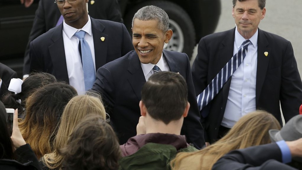 Obama reassures democrats trump will not succeed me the times of president barack obama smiles as he greets supporters after arriving on air force one at san m4hsunfo