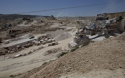 A Palestinian quarry is seen in the West Bank village of Beit Fajar, Bethlehem, April 19, 2016. (AP Photo/Nasser Nasser)
