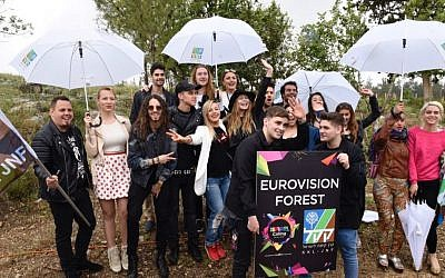 The Eurovision contenders visiting Israel planted trees on Tuesday, April 12 in a JNF-KKL forest as part of their three-day tour sponsored by Israel's Tourism Ministry (Courtesy Avi Hayun)