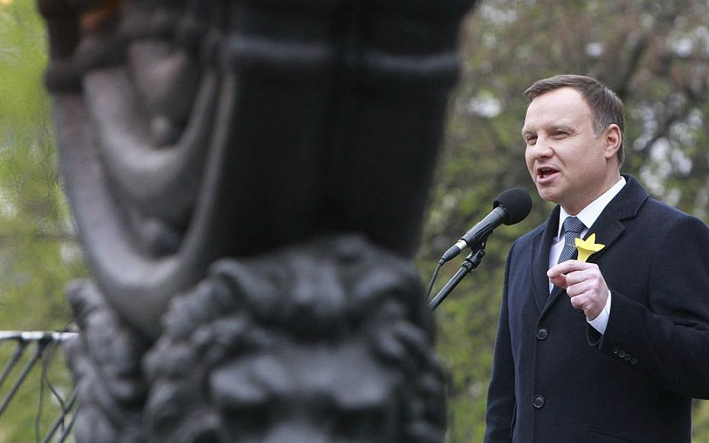 Polish President Andrzej Duda speaks during the official ceremony marking the 73rd anniversary of the Warsaw Ghetto Uprising at the Monument to the Ghetto Heroes in Warsaw, Poland, April 19, 2016. (AP/Czarek Sokolowski)