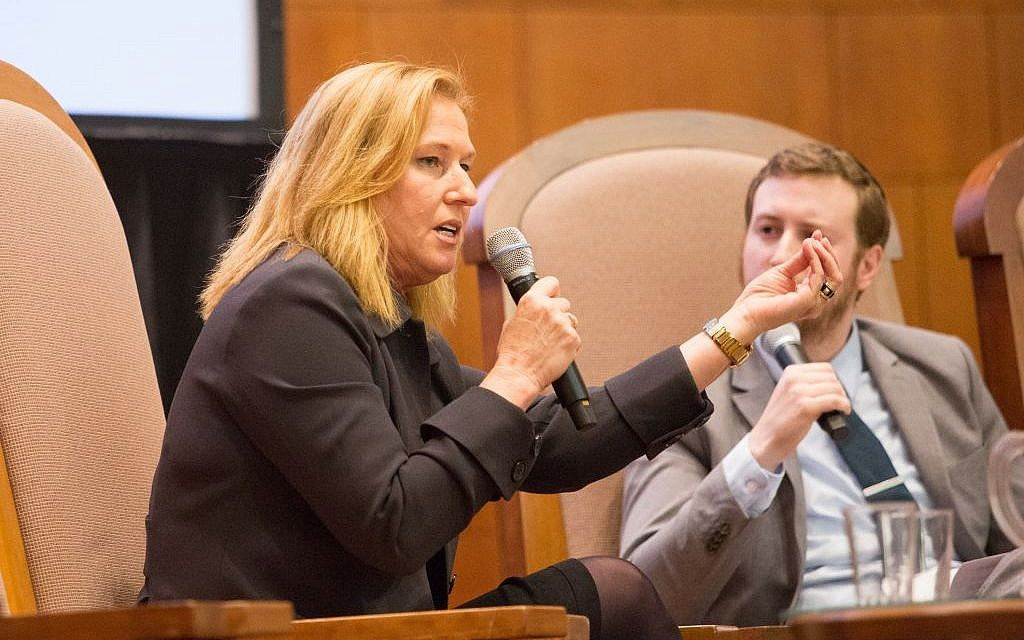 Speaking during a town hall-style gathering outside Boston on April 13, 2016, MK Tzipi Livni (Zionist Union) addresses the audience at Temple Emanuel in Newton (Elan Kawesch/The Times of Israel)