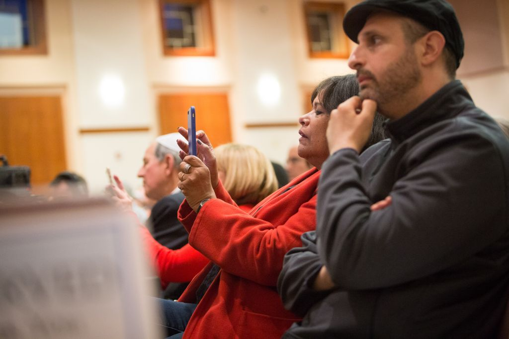 Audience members during the Ruderman Knesset Mission's Boston stop, held on April 13, 2016 at Temple Emanuel in Newton (Elan Kawesch/The Times of Israel)
