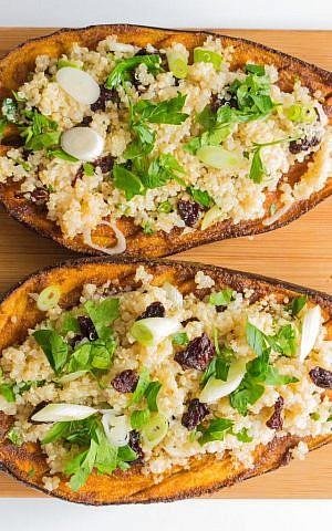 Spiced Rubbed Eggplant with Quinoa (Megan Wolf/via JTA)