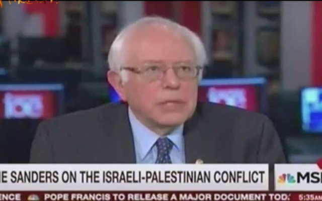 Bernie Sanders on MSNBC April 8, 2016 (YouTube screenshot)
