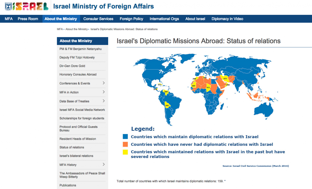 Screenshot from the Foreign Ministry website