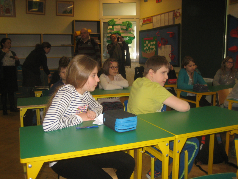 Students at the Lauder Jewish day school in Warsaw, Poland (courtesy)