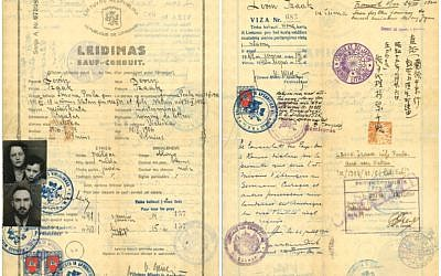 The endorsements of Chiune Sugihara and Jan Zwartendijk, the Japanese and Dutch consuls, respectively, in Kovno, Lithuania, appear on the Leidimas, or travel document, that allowed Isaac Lewin and his family to escape Lithuania in 1940. (Courtesy of Alyza D. Lewin)