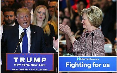 Donald Trump and Hillary Clinton celebrating their respective victories in the New York primaries in New York City, April 19, 2016. (Spencer Platt and John Moore/Getty Images via JTA)