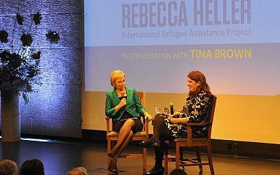 Publisher Tina Brown, left, interviewing Rebecca Heller, co-founder and director of the International Refugee Assistance Project, at an event in New York honoring Heller as the 2015 recipient of The Charles Bronfman Prize, April 4, 2016. (Bill Stanton)