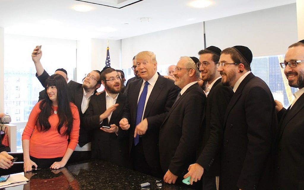 Donald Trump holds a question-and-answer session with Jewish reporters at his offices at Trump Tower, New York, April 14, 2016. (Uriel Heilman/JTA)