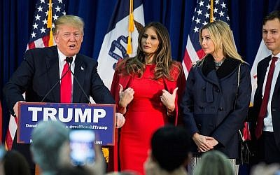 Donald Trump speaking during a campaign rally with, from left to right, his wife Melania Trump, Ivanka Trump and her husband, Jared Kushner, in Waterloo, Iowa, Feb. 1, 2016. (JTA/Samuel Corum/Anadolu Agency/Getty Images)