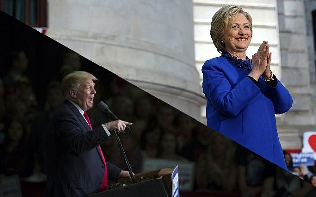 Republican presidential candidate Donald Trump (L) speaks at a campaign rally on April 25, 2016 in West Chester, Pennsylvania (Jessica Kourkounis/Getty Images/AFP); Democratic presidential candidate Hillary Clinton greets supporters on April 25, 2016 in Philadelphia, Pennsylvania (Justin Sullivan/Getty Images/AFP)