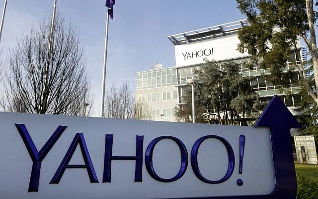 This Jan. 14, 2015, file photo shows a sign outside Yahoo's headquarters in Sunnyvale, Calif.  (AP/Marcio Jose Sanchez)