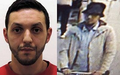 Paris attacks suspect Mohamed Abrini, seen left in an image released by Belgian police, is believed to be the 'third man' caught on CCTV at Brussels airport with the two men who blew themselves up there on March 22. (AFP Photo/Belgian Federal Police/STR and Twitter)