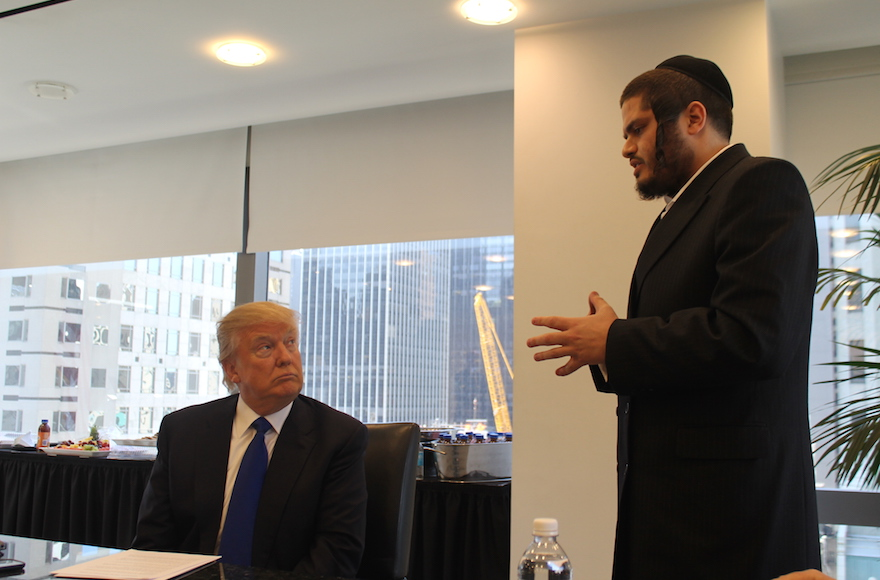 Donald Trump holds a question-and-answer session with Jewish reporters at his offices at Trump Tower, New York, April 14, 2016. (Uriel Heilman)