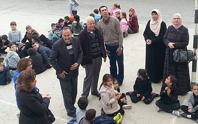 Image taken from deleted Facebook post of an event at the Jabal Mukaber Elementary school, in which family members of Palestinian attacker Bahaa Allyan were invited to speak. (Courtesy: Facebook)