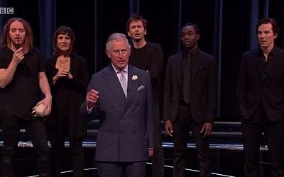 Prince Charles recites Hamlet's famous soliloquy at the Royal Shakespeare Theatre in Stratford-upon-Avon on Saturday, April 23, 2016, in honor of the 400th anniversary of the Bard's death (YouTube screenshot)