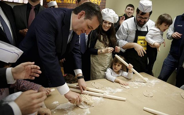Sen. Ted Cruz, R-Texas, making matzah with children at the Model Matzah Bakery in Brooklyn, New York, April 7, 2016. (Twitter via JTA)