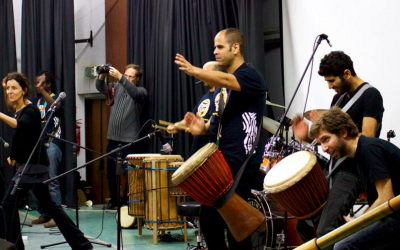 Aviva Nash (far left) and the drummers from Drum Cafe, which she hopes will bring together Arabs and Jews in Israel. (Courtesy Drum Cafe Israel)