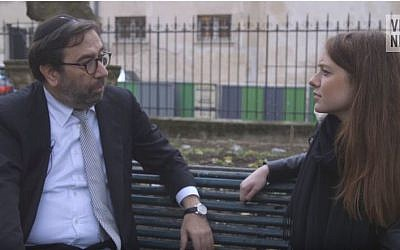 Robert Ejness, Director General of CRIF, the French Jewish umbrella organizations, left, during an interview with Vice News. (YouTube/Vice News)