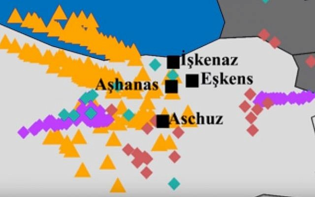 A map showing the apparent origins of Yiddish speakers based on DNA analysis, according to a study by Dr. Eran Elhaik (YouTube screen capture)