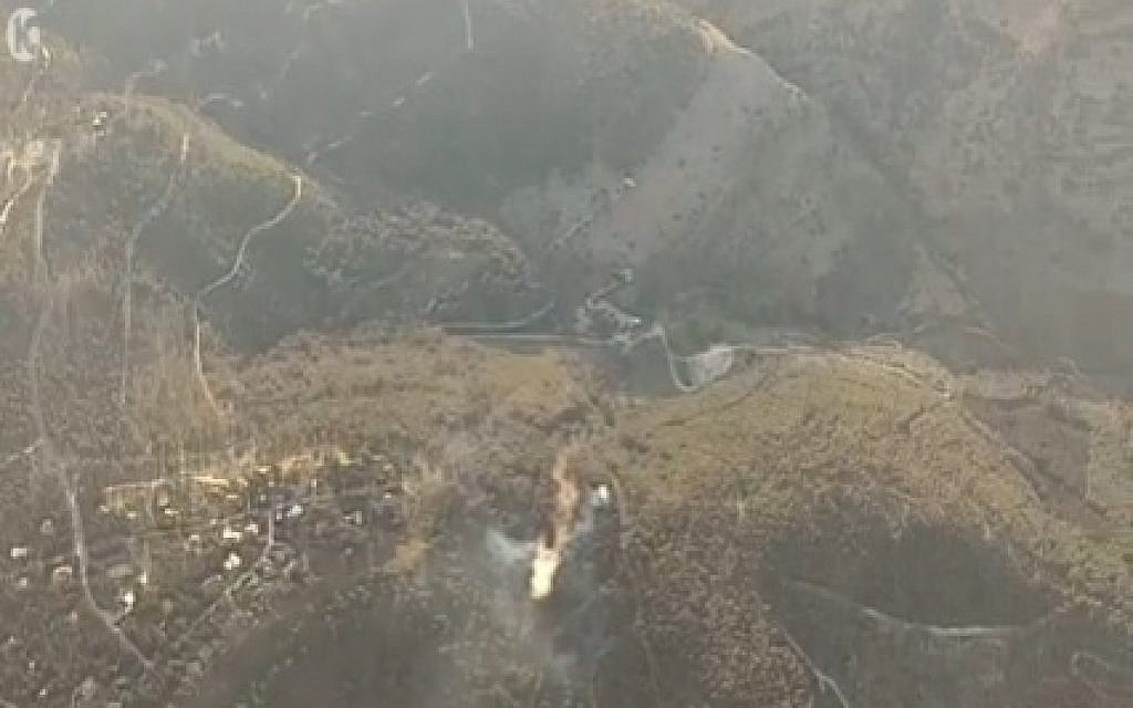 A forest fire in the Biriya forest in northern Israel on April 25, 2016 (screen capture: Channel 10)
