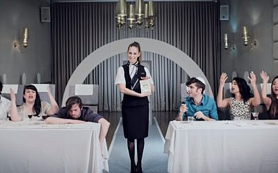 A still from the Charles and Lynn Schusterman Family Foundation's new video, which aims to introduce the Passover seder traditions using a familiar format: An airline safety tutorial (YouTube screenshot)