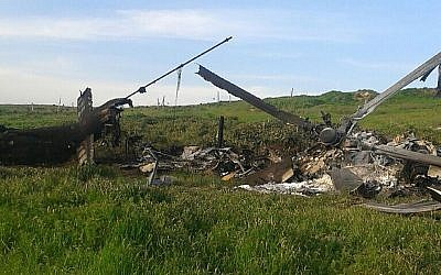 A picture taken on April 2, 2016 obtained from the Nagorno Karabakh Republic Defence Ministry's official website reportedly showing the remains of a downed Azerbaijan helicopter in Nagorny Karabakh after clashes between Armenian and Azeri forces (AFP Photo/HO)