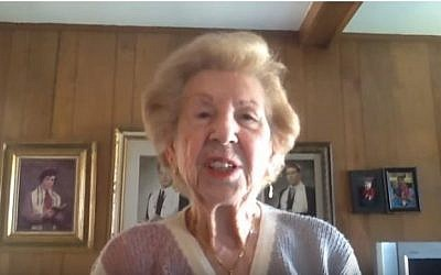 89-year-old American Holocaust survivor Hermina Hirsch will sing the American national anthem at a Detroit Tigers baseball game May 21. (screen capture: YouTube/CBS Detroit)