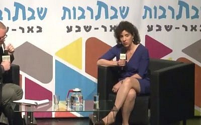 IAI engineer Inbal Kreiss speaking at a cultural event in Beersheba on April 16, 2016. (Screenshot)