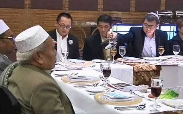 Illustrative: a Passover seder held in Indonesia on April 22 2016. (Screen capture Channel 10)