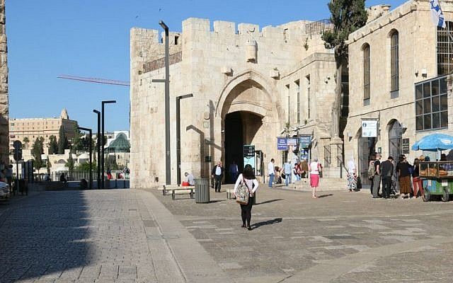 Jaffa Gate, one of seven gates in the Old City's walls, was restored by Jerusalem's Ottoman rulers in 1538. (Shmuel Bar-Am)